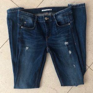 Zara Distressed blue skinny jeans